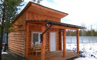 Баня 6на4 с односкатной крышей