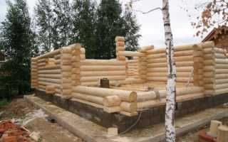 Баня из оцилиндрованного бревна с фундаментом