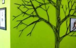 Дерево из ниток на стене своими руками