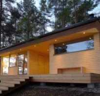 Современная баня с плоской крышей