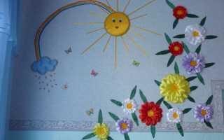 Панно из атласных лент на стену своими руками