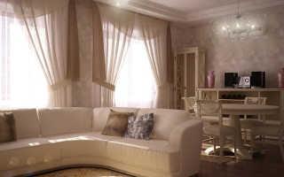 Шторы для гостиной с двумя окнами своими руками